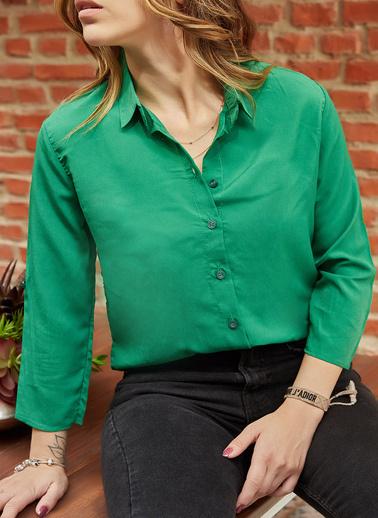 XHAN Kolu Katlamalı Gömlek 9Yxk2-41775-08 Yeşil
